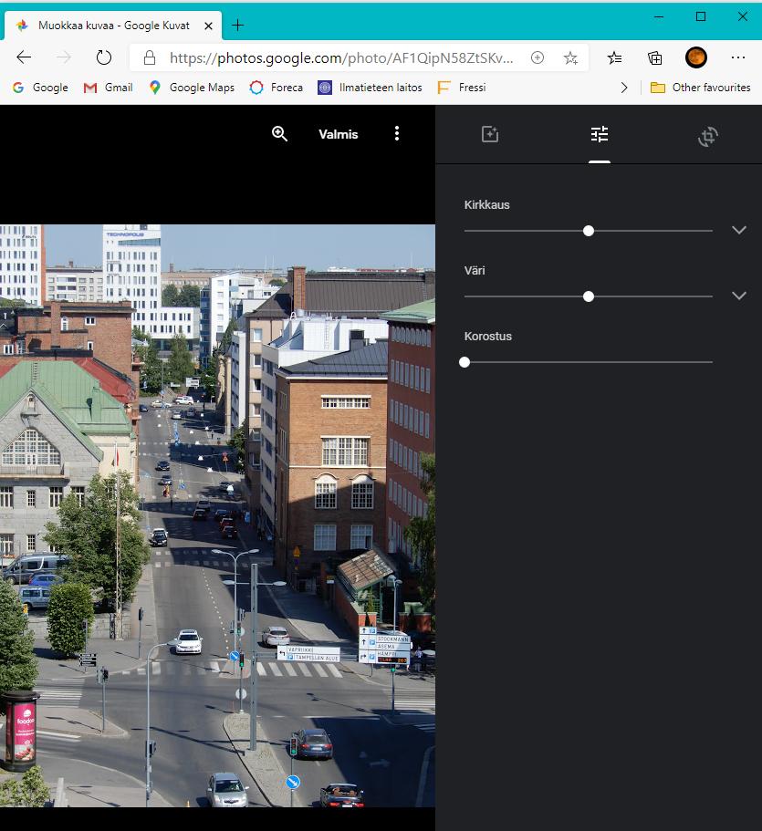 Google kuvat muokkaus näkymä