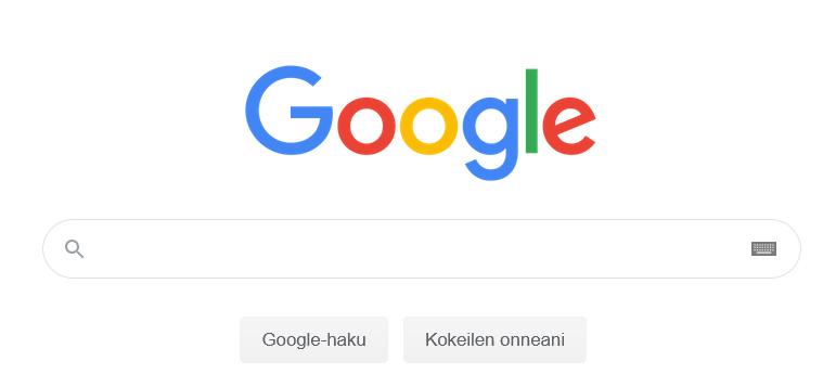 Google sivun aloitusnäkymä