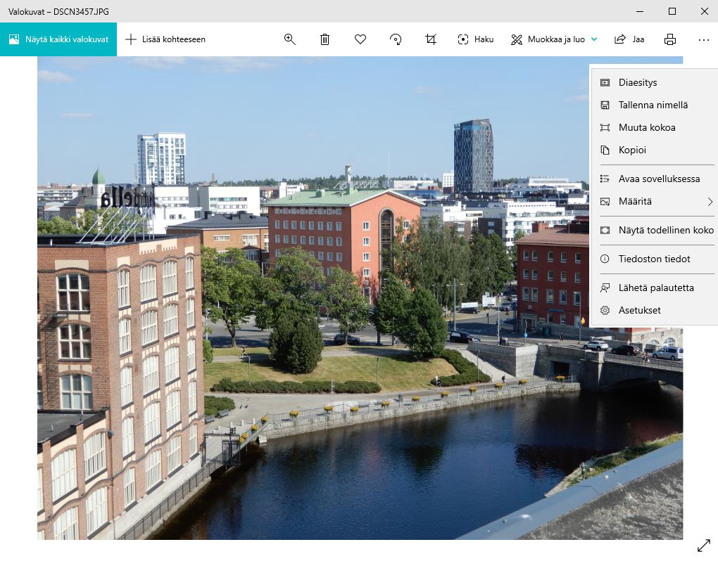 Windows valokuvat sovelluksen näkymä