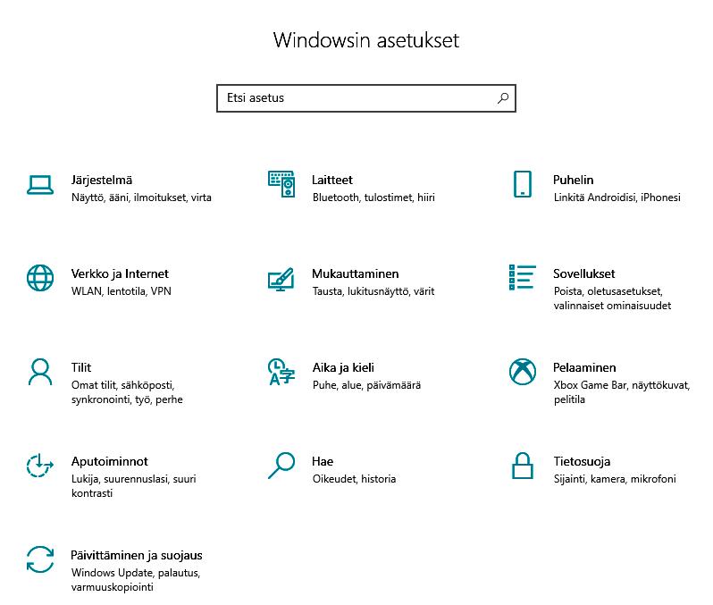 Windows asetukset näkymä